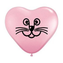 Picture of 6 Inch Pink Cat Face Heart Balloon (100/bag)