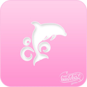 Picture of Pink Power Face Painting Stencil (1044) - Dolphin Wave