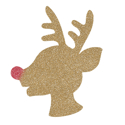 Picture of Rudolph Head Glitter Tattoo Stencil - HP (5pc pack)