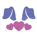 Picture of Bunny Ears with Hearts Glitter Tattoo Stencil - HP (5pc pack)