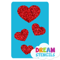 Picture of Cascading Hearts Glitter Tattoo Stencil - HP (5pc pack)