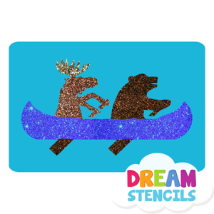 Picture of Moose and Bear in Canoe Glitter Tattoo Stencil - HP-126 (5pc pack)