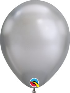 "Picture of 7"" Qualatex Chrome Silver round balloons - (100/bg)"