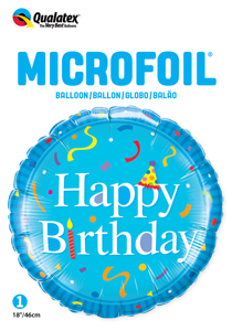 "Picture of 18""  Happy Birthday Blue Foil Balloon (1pc)"