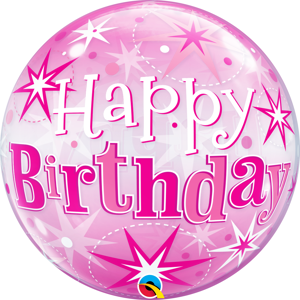 Picture of 22″ Birthday Pink Starburst Sparkle Single Bubble (1pc)
