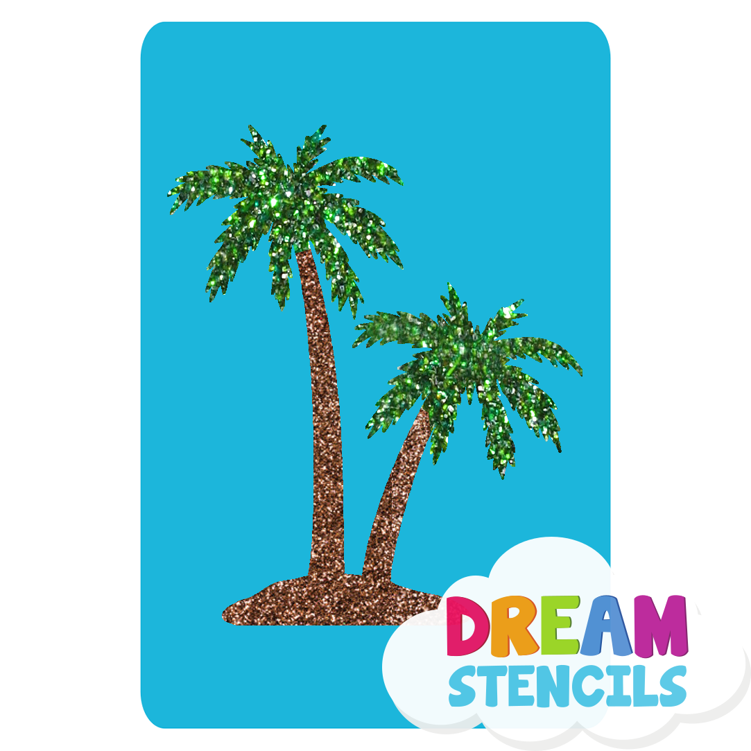Picture of Twin Palm Trees Glitter Tattoo Stencil - HP (5pc pack)