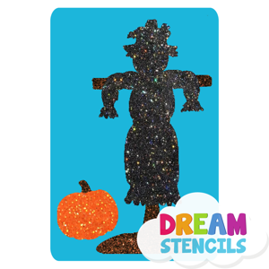 Picture of Scarecrow with Pumpkin Glitter Tattoo Stencil - HP (5pc pack)