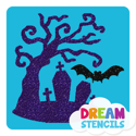 Picture of Haunted Tree with Bat Glitter Tattoo Stencil - HP-165 (5pc pack)