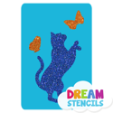 Picture of Standing Cat With Butterflies Glitter Tattoo Stencil - HP-198 (5pc pack)