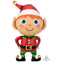 "Picture of Happy Christmas Elf Foil Balloon - 35"" (1pc)"
