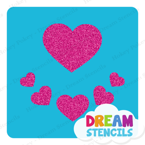 Picture of Assorted Hearts Glitter Tattoo Stencil - HP-218 (5pc pack)