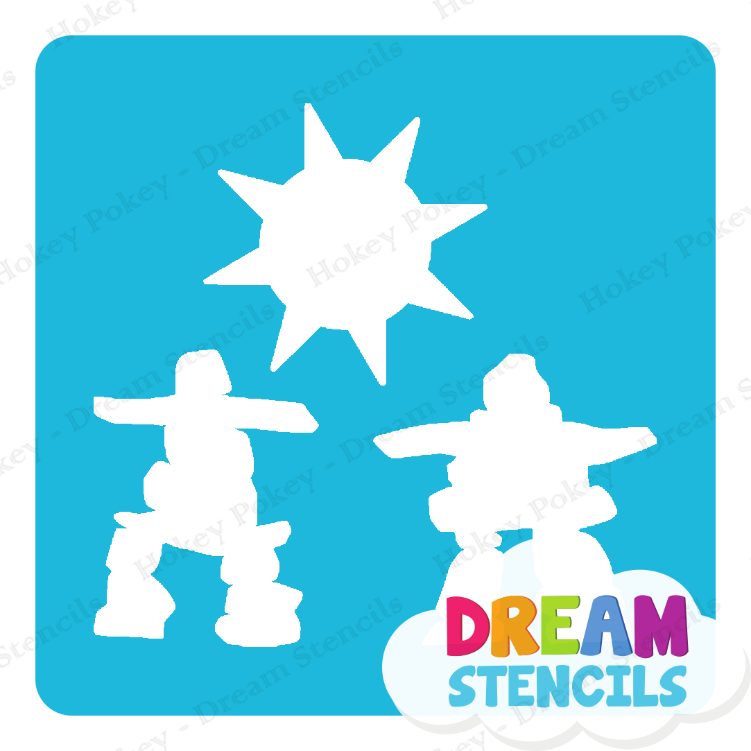 Picture of Inukshuks with Sun - Glitter Tattoo Stencil - HP-228 (5pc pack)