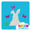 Picture of Easter Bunny with Butterflies Glitter Tattoo Stencil - HP-235 (5pc pack)